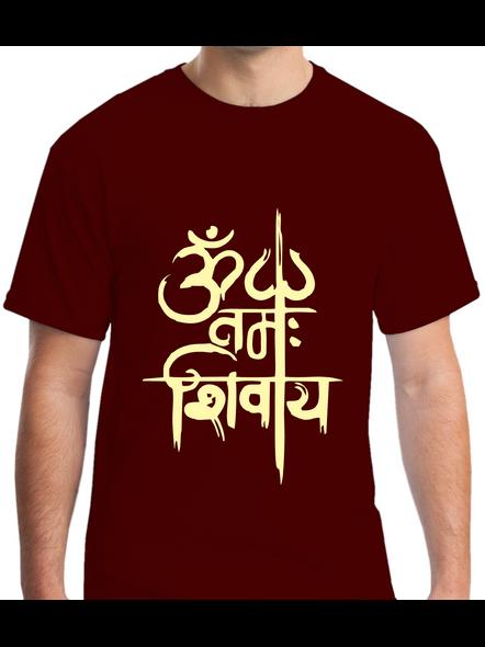 Om Namah Shivaya Printed Round Neck Tshirt For Men-RNECK0020-Brown-L