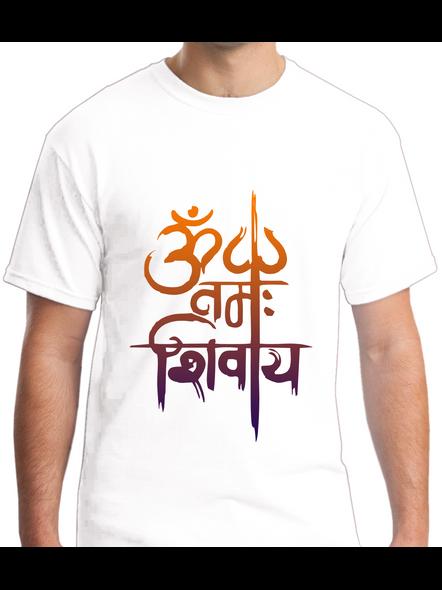 Om Namah Shivaya Printed Round Neck Tshirt For Men-RNECK0020-White-L