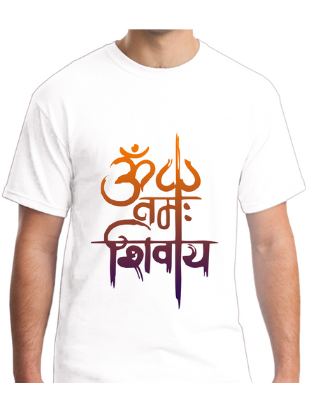 Om Namah Shivaya Printed Round Neck Tshirt For Men-RNECK0020-White-XXL