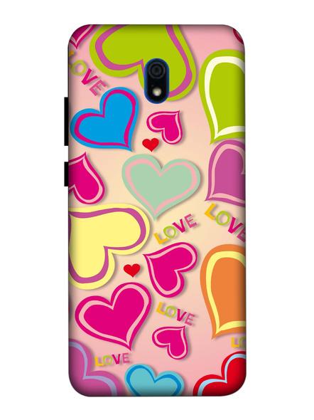 Xiaomi 3D Designer Multi Colorful Hearts Printed Mobile Cover-Redmi8A-MOB003067