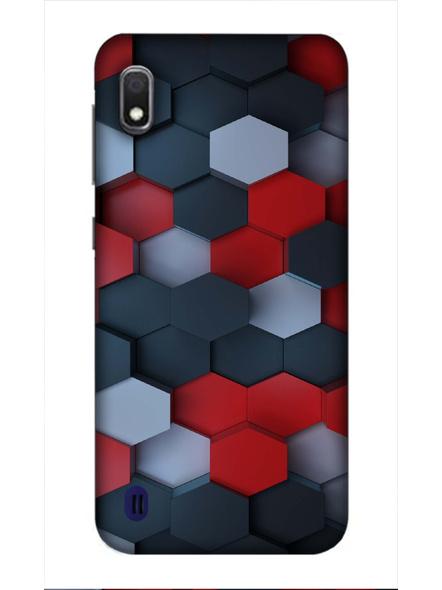 Samsung 3D Designer Hexagon Red Black Pattern Printed  Mobile Cover-SamsungA10-MOB002985