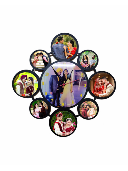 Personalized 9 Photos Circle Hanging Collage Clock-RClkclg001aa