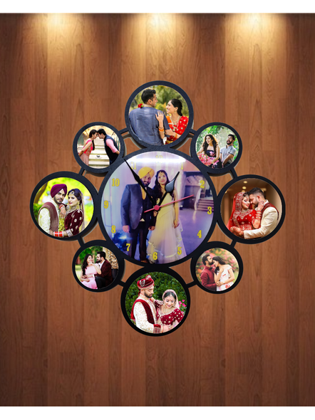 Personalized 9 Photos Circle Hanging Collage Clock-2