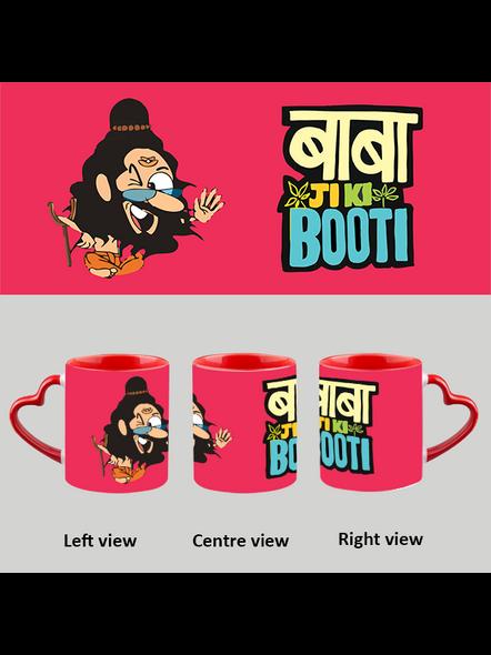 Baba ji ki Booti Heart handle Mug-Red Inner & Handle-1