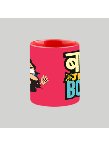 Baba ji ki Booti Heart handle Mug-Red Inner & Handle-3