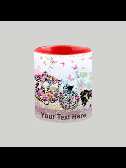 Horse Car Decorating Red Heart Handle Mug-Red Inner & Handle-2