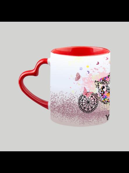 Horse Car Decorating Red Heart Handle Mug-Red Inner & Handle-5