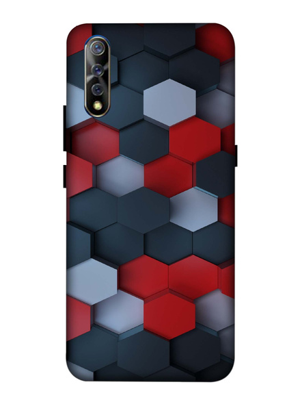 Vivo 3D Designer Hexagon Red Black Pattern Printed Mobile Cover-VivoS1-MOB003029