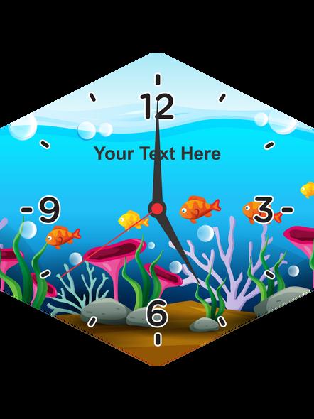 Fish Acquerium Printed Hexagon Personalized Wall Clock-HEXACLOCK0002