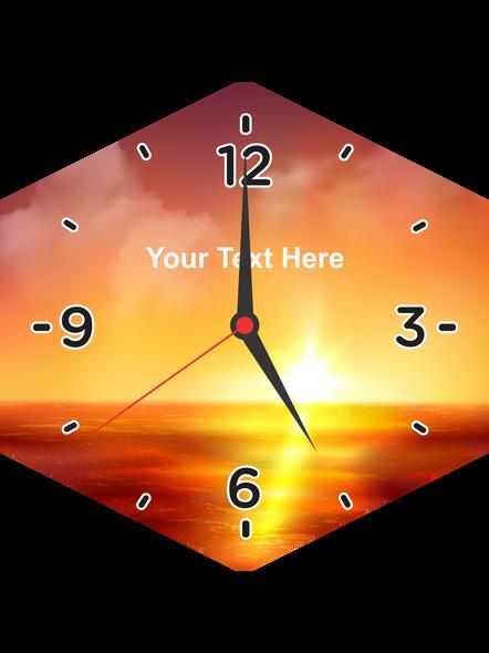 Rising Sun Printed Customised Hexagon Wall Clock-HEXACLOCK0009