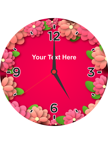 Super Pink Flower Printed Personalized Round Wall Clock-ROUNDCLOCK0007