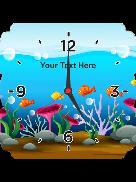 Fish Acquerium Printed Square Personalized Wall Clock-SQCLOCK0003