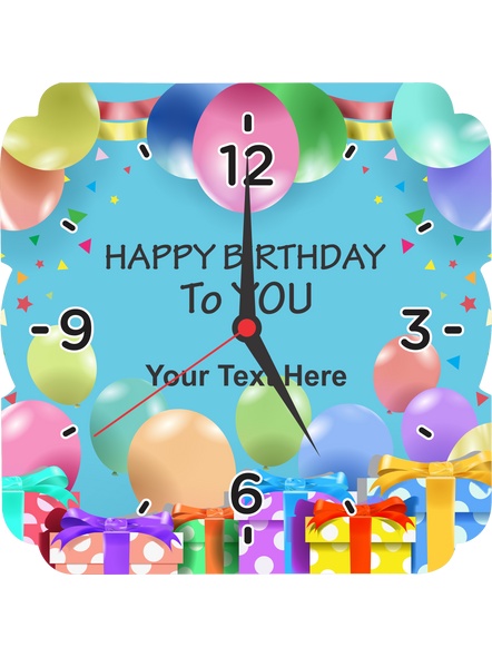 Happy Birthday Baloons Printed Personalized Square Wall Clock-SQCLOCK0010