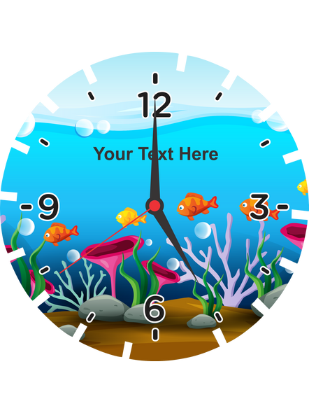Fish Acquerium Printed Wheel Shaped Personalized Wall Clock-WHEELCLOCK0002