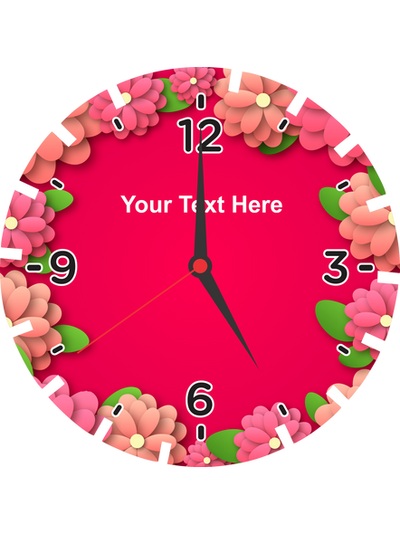 Super Pink Flower Printed Personalized Wheel Shaped Wall Clock-WHEELCLOCK0003