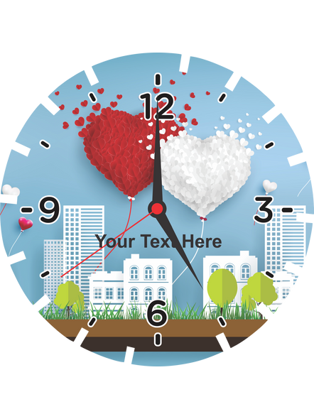 City Buildings Printed Wheel Shaped Personalized Wall Clock-1
