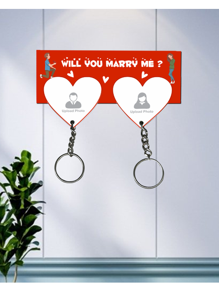 Will You Marry Me Hanging Heart Personaised Keychain Holder-HKEYH0002A