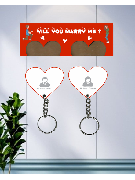 Will You Marry Me Hanging Heart Personaised Keychain Holder-3