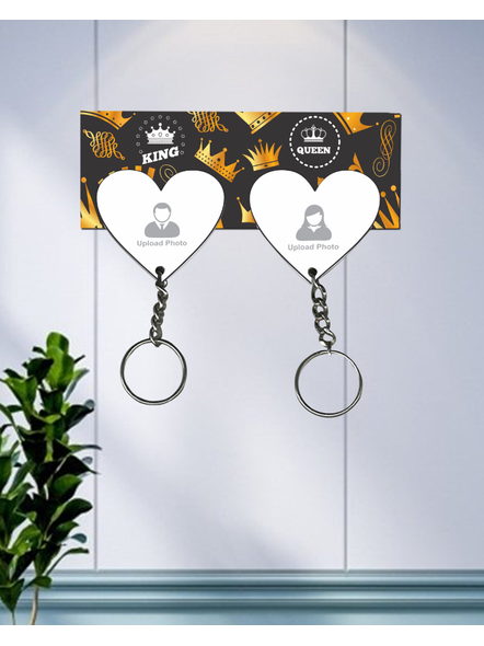 King with Queen Hanging Heart Personalized Keychain Holder-HKEYH0006A