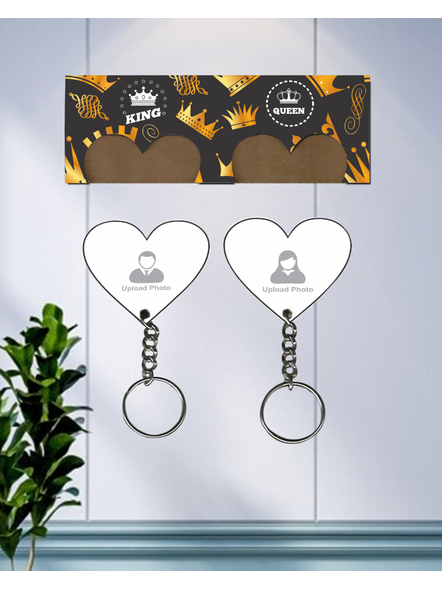 King with Queen Hanging Heart Personalized Keychain Holder-2