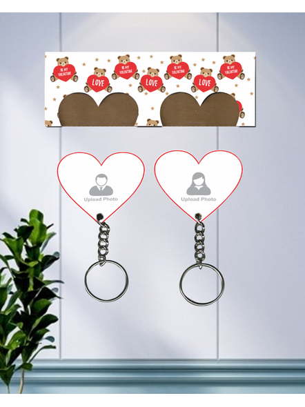 Teddy Love Valentines Hanging Hearts Personalized Keychain Holder-HKEYH0013A