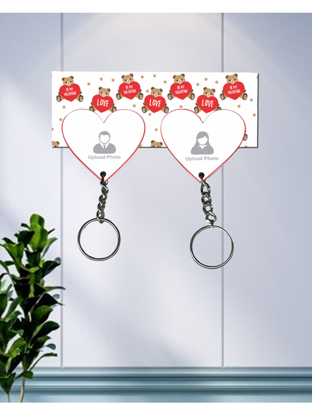 Teddy Love Valentines Hanging Hearts Personalized Keychain Holder-1