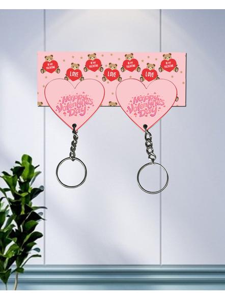 Teddy Love Valentines Hanging Hearts Designer Keychain Holder-HKEYH0014A