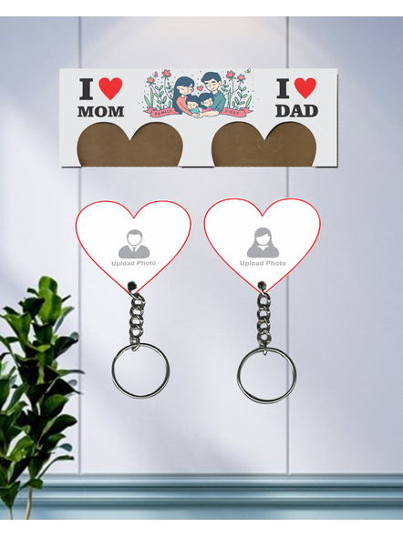 I love My Dad Hanging Hearts Personalized Keychain Holder-3