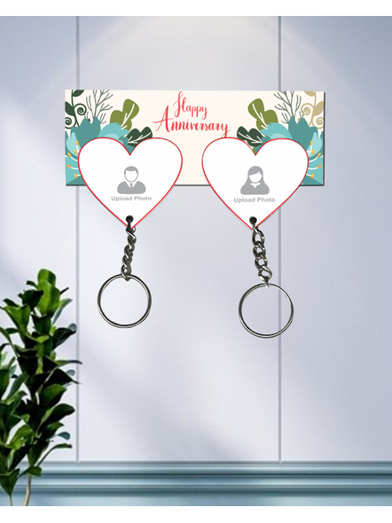 Happy Anniversary Personalized Hanging Hearts Keychain Holder-HKEYH0018A