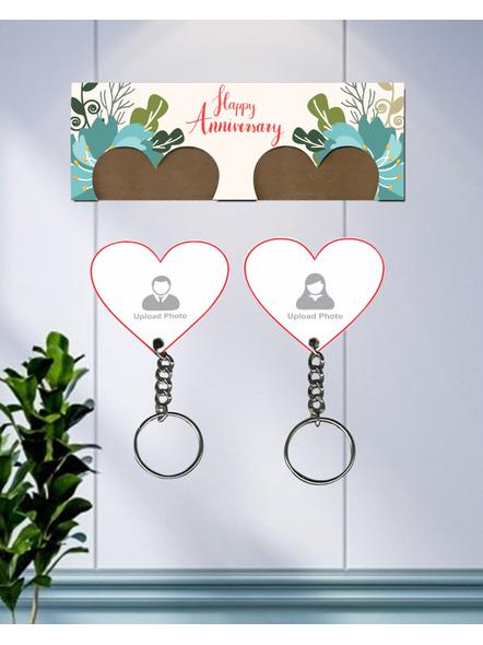 Happy Anniversary Personalized Hanging Hearts Keychain Holder-1