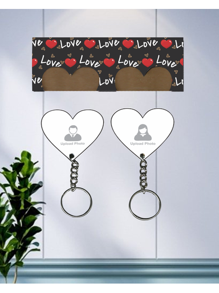 Love Hearts Printed Customized Hanging Hearts Keychain Holder-HKEYH0019A