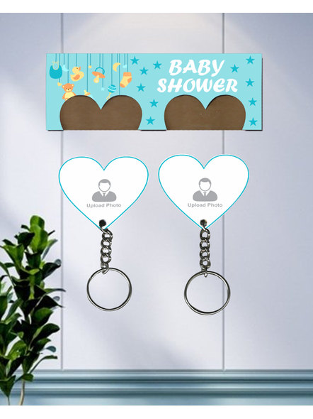 Baby Shower Design Personalized Hanging Hearts keychain Holder-1