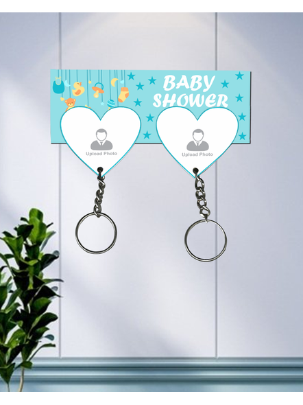 Baby Shower Design Personalized Hanging Hearts keychain Holder-3