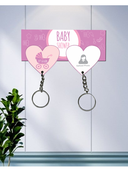 It's a Baby Girl Personalized Hanging Hearts Keychain Holder-HKEYH0022A