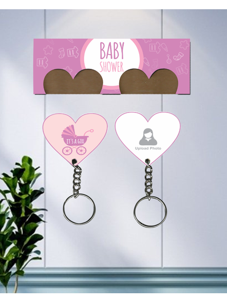 It's a Baby Girl Personalized Hanging Hearts Keychain Holder-2
