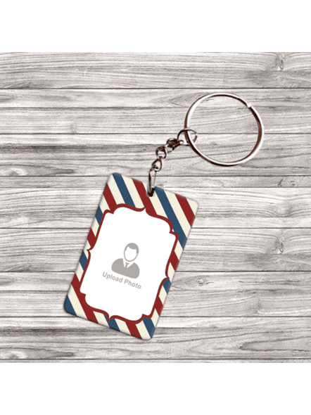 Line Pattern with Red Boundry double Side Big Rectangle Keychain-DSRECKC0004A
