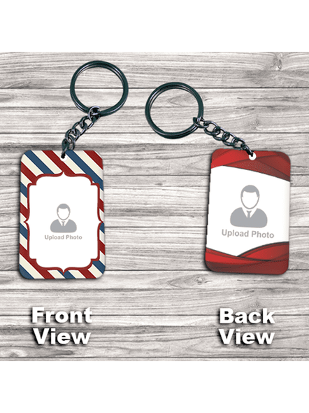 Line Pattern with Red Boundry double Side Big Rectangle Keychain-3