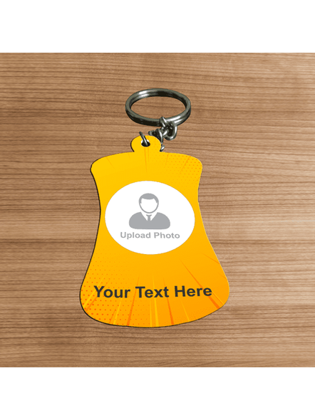 Yellow Rays Bottle Shaped Personalized keychain-1