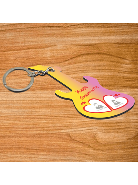 happy Anniversary Personalized Guitar Keychain-GUITARKC0001A