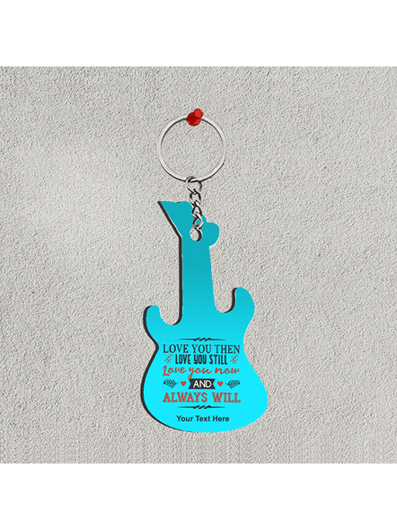 Love You then Love You Still Personalized Guitar Keychain-1