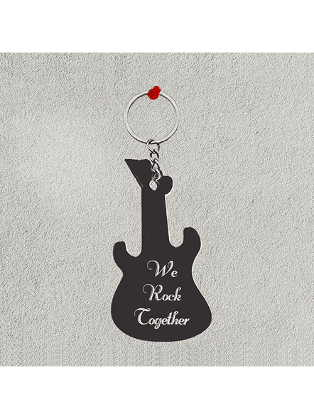 We Rock Together Personalized Guitar keychain-GUITARKC0009A