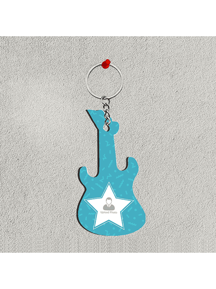 Blue Star Personalized Guitar Keychain-GUITARKC0013A