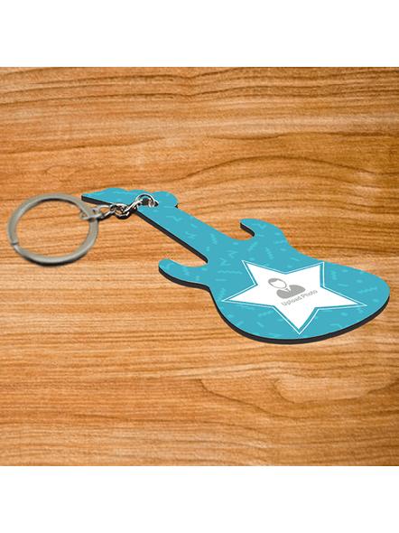 Blue Star Personalized Guitar Keychain-3