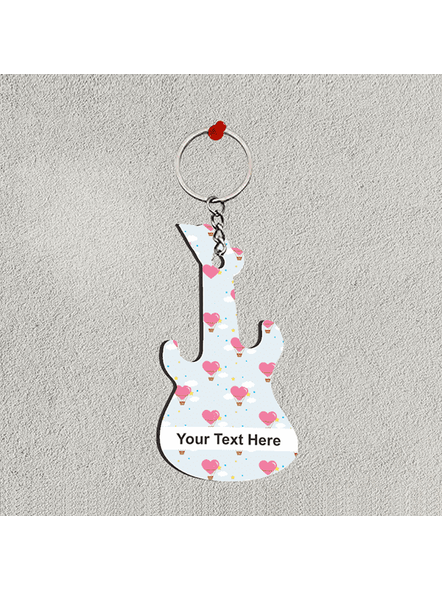 Love Hearts Flying Baloon Personalized Guitar Keychain-GUITARKC0016A