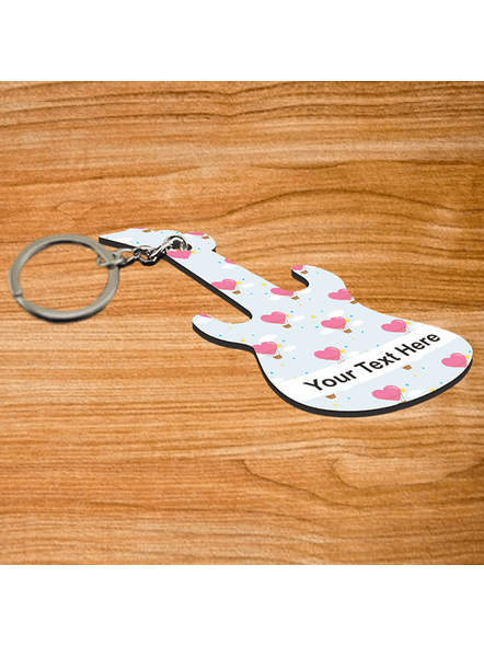Love Hearts Flying Baloon Personalized Guitar Keychain-1
