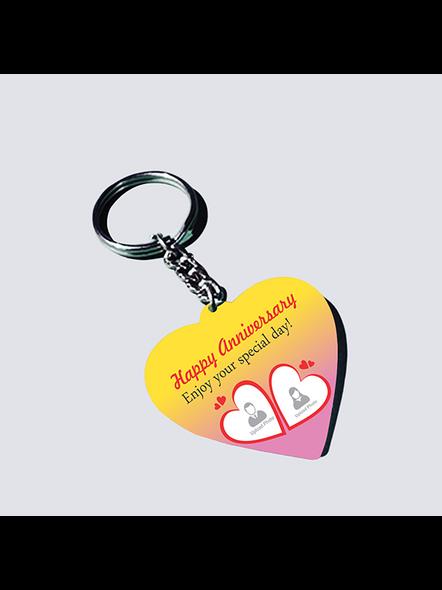 Happy Anniversary Personalized Heart Shaped Keychain-HEARTKC0001A