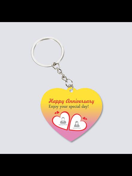 Happy Anniversary Personalized Heart Shaped Keychain-1