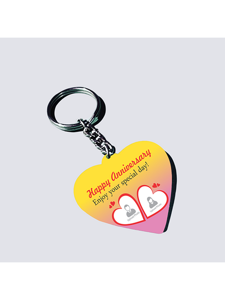 Happy Anniversary Personalized Heart Shaped Keychain-2