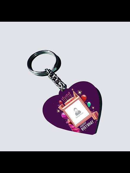 Happy Birthday Theme Personalized Heart Shaped Keychain-HEARTKC0002A