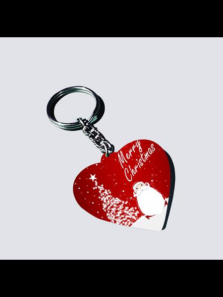 Merry Christmas with Senta Heart Shaped Keychain-HEARTKC0003A